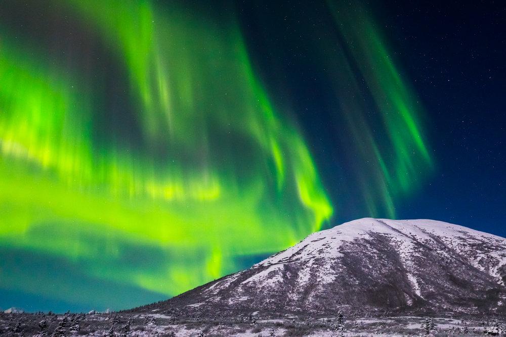 Aurora borealis over Donnelly Dome.
