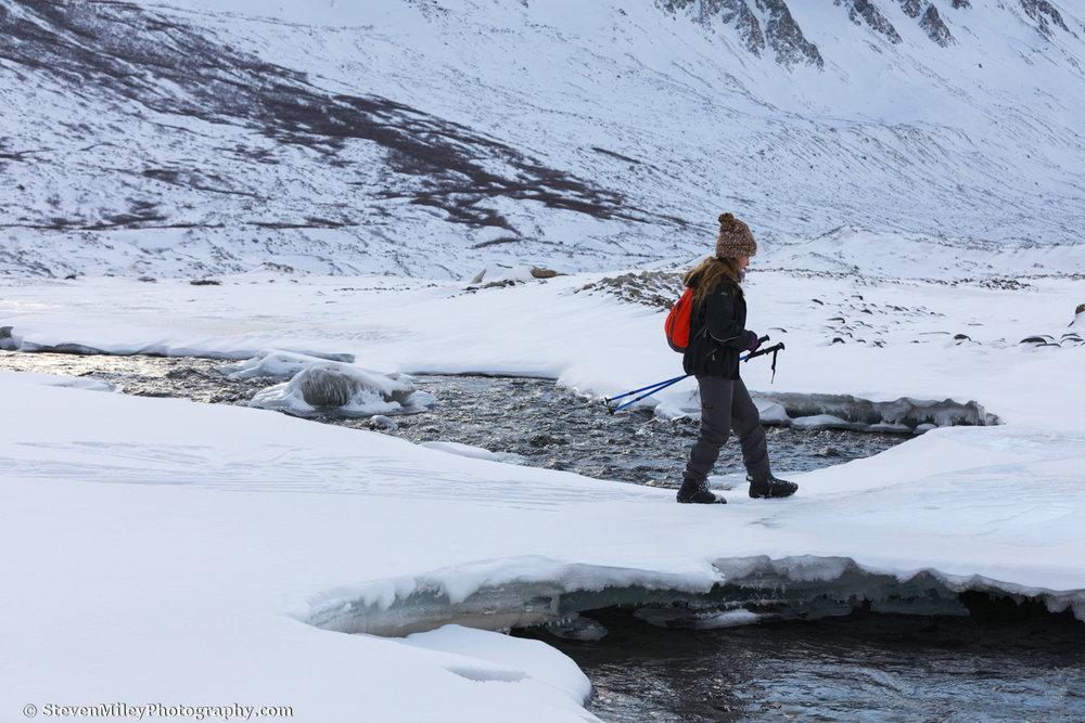 Crossing open water near Black Rapids Glacier.