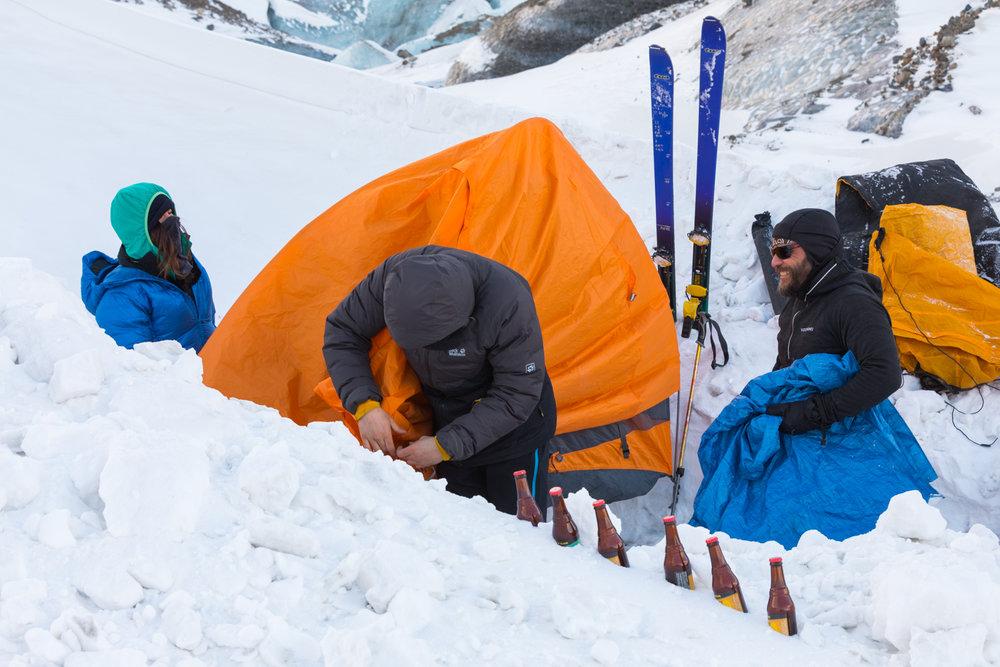 Winter Camping, Black Rapids Glacier, Alaska Range
