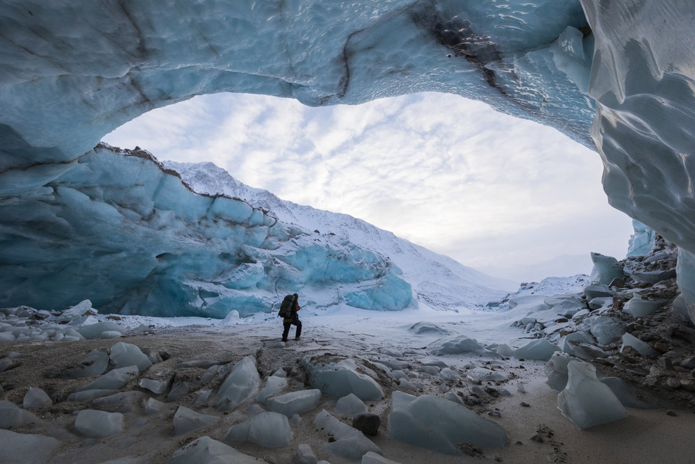 Huge Ice Cave, Black Rapids Glacier, Alaska Range
