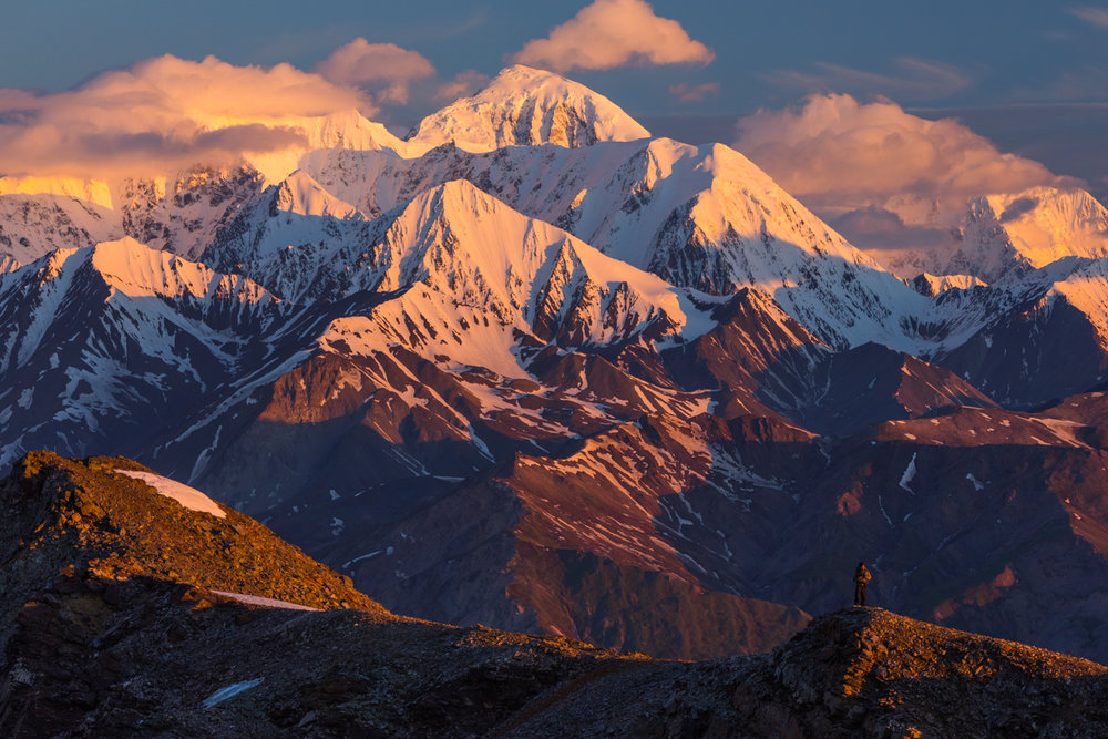 Ridge Hiking At Sunrise, Eastern Alaska Range
