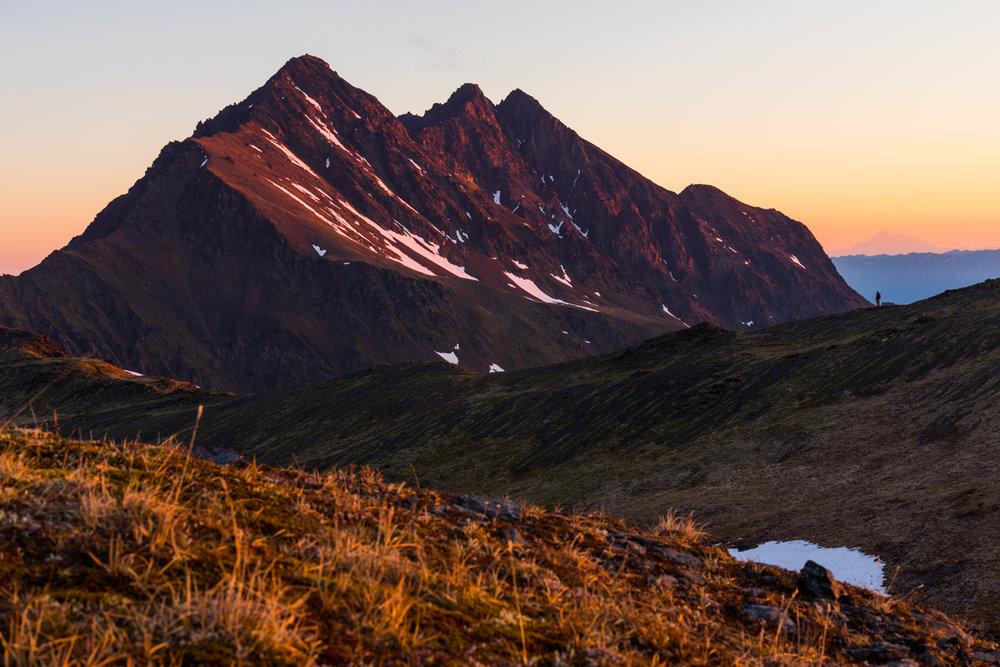 Pioneer Peak At Sunrise With Denali In Distance