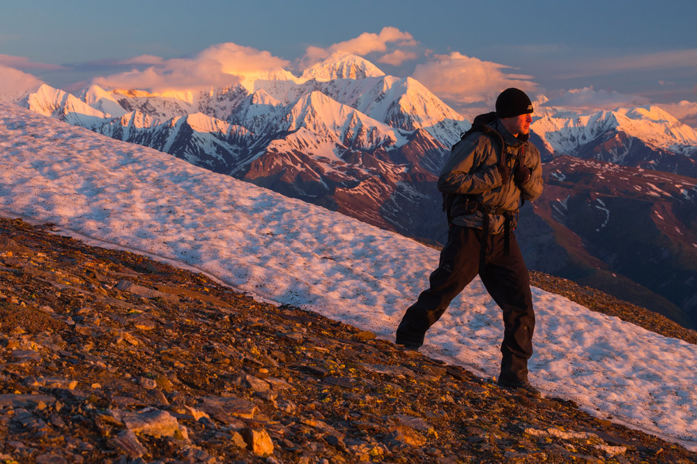 Hiking at Sunrise, Eastern Alaska Range