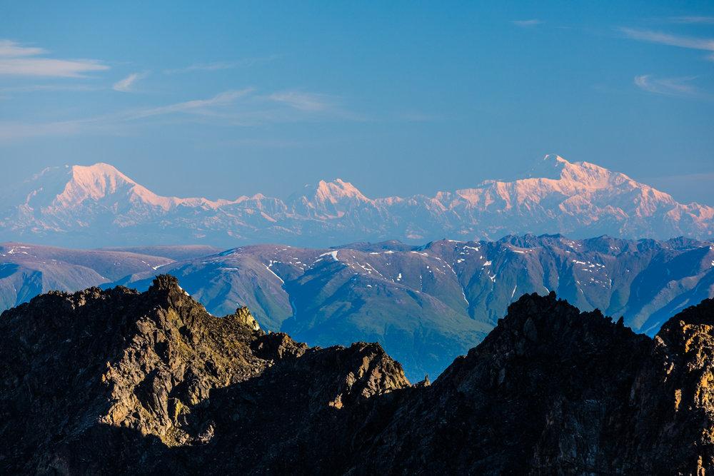 Mt. Foraker, Mt. Hunter, Denali from Pioneer Peak