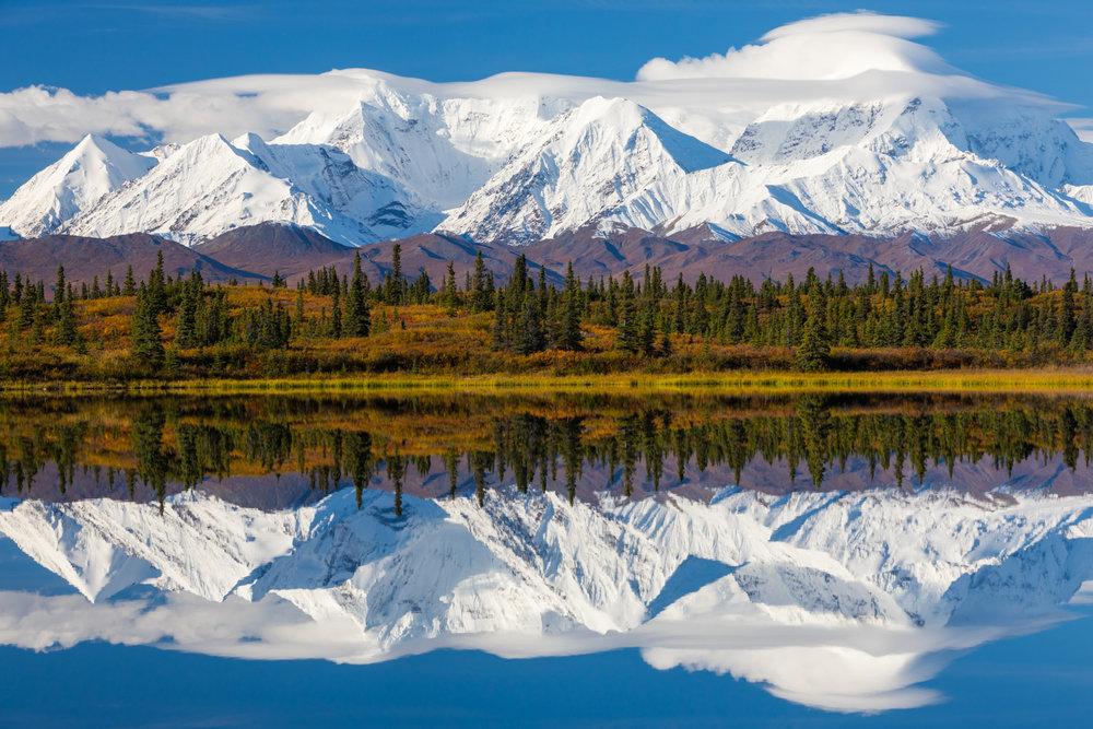 Eastern Alaska Range Reflecting In Donnelly Lake (not Denali National Park)