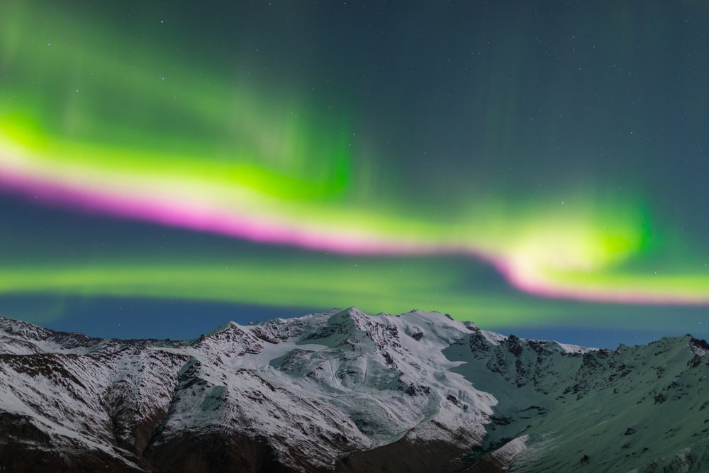 Pink Stripe Aurora Over Alaska Range