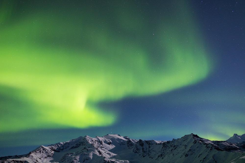 Green Cloud Aurora, Alaska Range