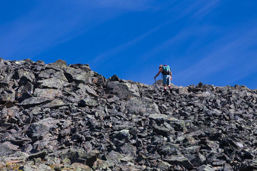Ascending a talus slope