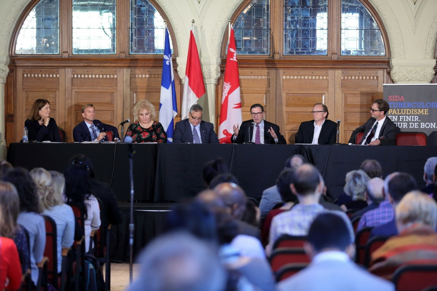 Panelists at the McGill event (from left to right): the Honourable Jane Philpott, Mark Dybul, Lucica Ditiu, Peter Singer, Mark Wainberg, Philippe Gros, and Marcel Behr.