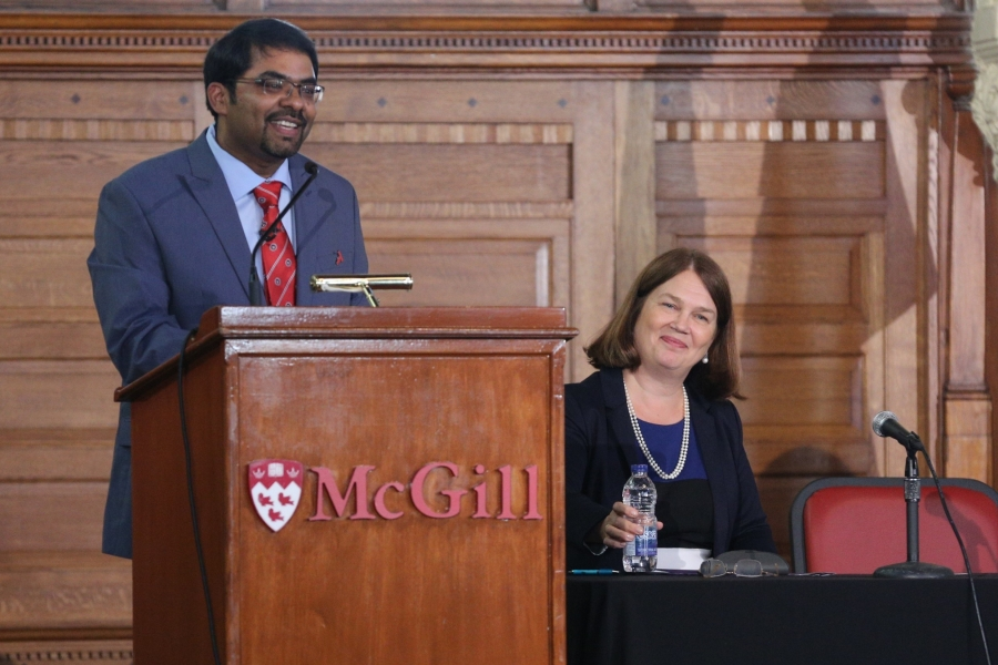 Dr. Madhukar Pai moderating the pre-conference panel discussion at McGill on September 15th.