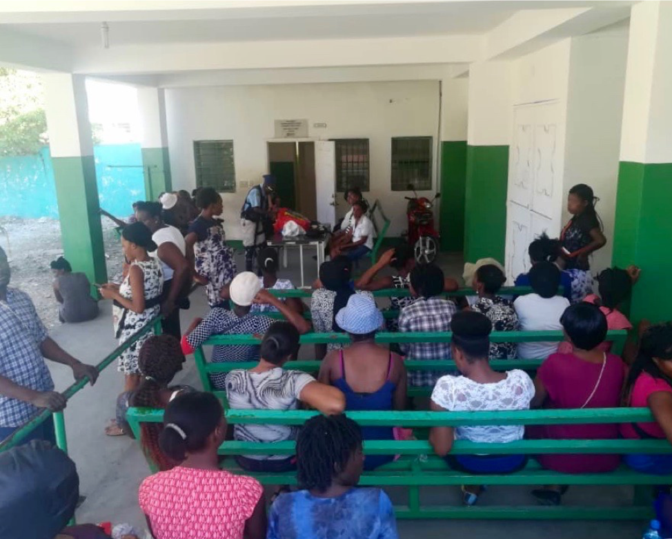 Waiting room at the affiliated prenatal clinic of St Nicholas Hospital, Saint-Marc, Haiti.