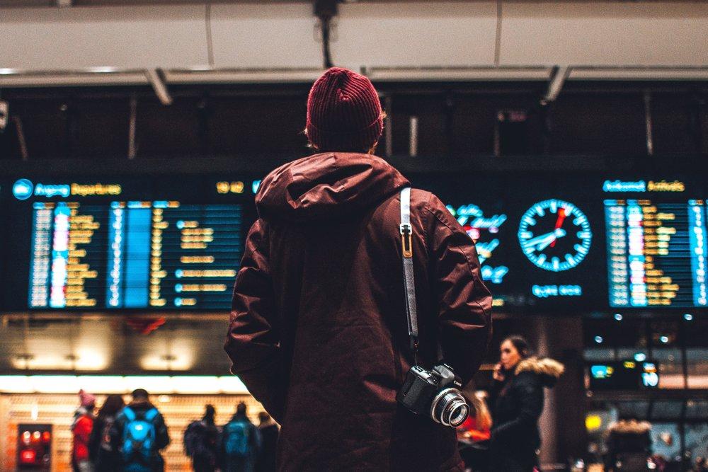 Departures board, Oslo central station.