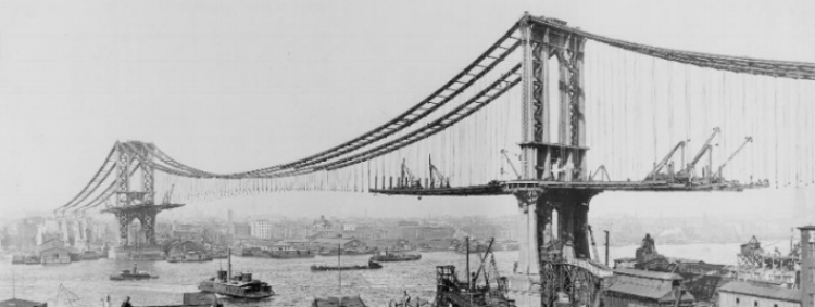 Manhattan Bridge, under construction (March, 1909). The bridge is an important public work in the history I've studied--and a good metaphor for the public work of bridging communities and higher education.    It's also a piece of family lore: my great-grandfather, the engineer Leon Moisseiff, designed it.