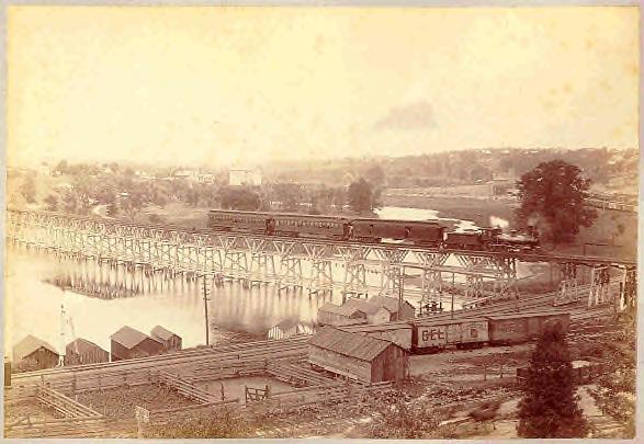 Huron River, Michigan Central, stockyards, late 1800s