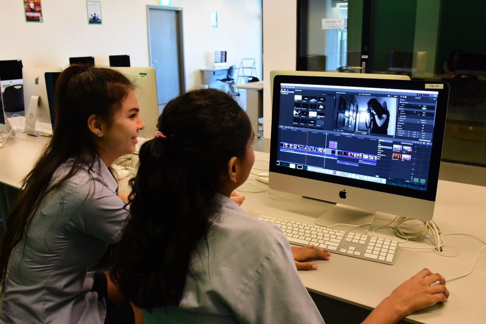 Senior School film students editing in Final Cut Pro