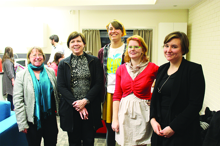 Vice-Chancellor Annabelle Duncan and CFO Michelle Clarke with Hanna Gilmour, Kate Wood, and Amelia Roberts