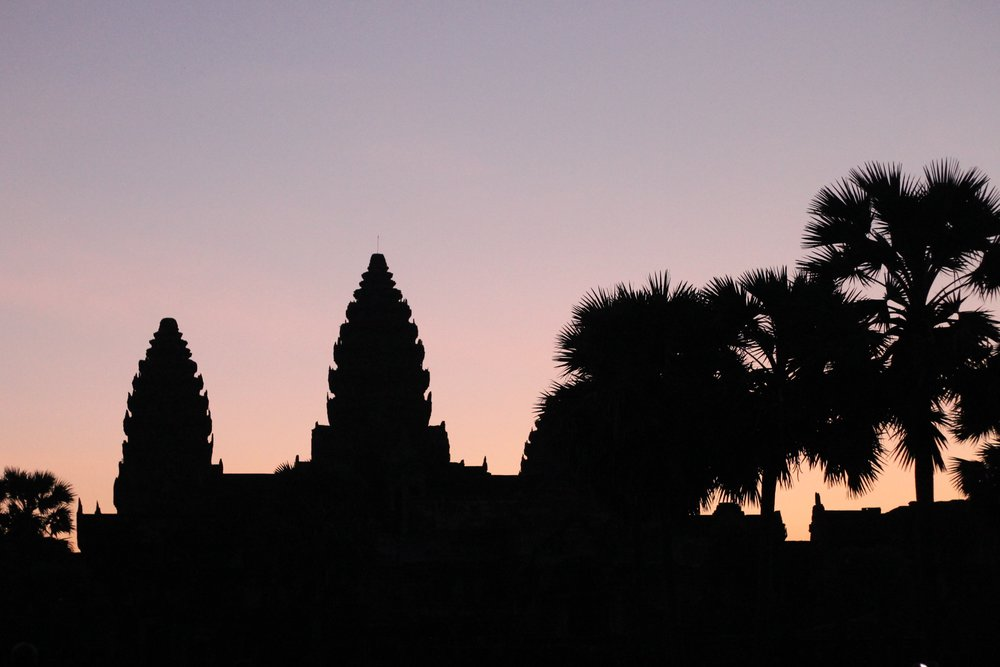 The entrance of Angkor Wat at sunrise.