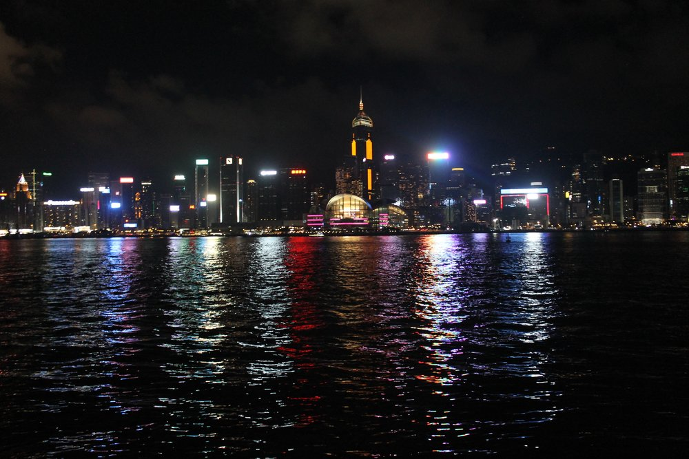 Tsim Sha Tsui at night.