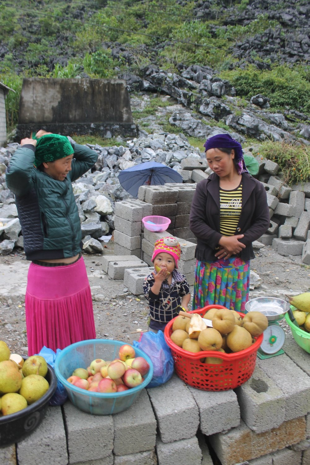 Fruit selling is a family business here. Photo taken roadside in Ha Giang.