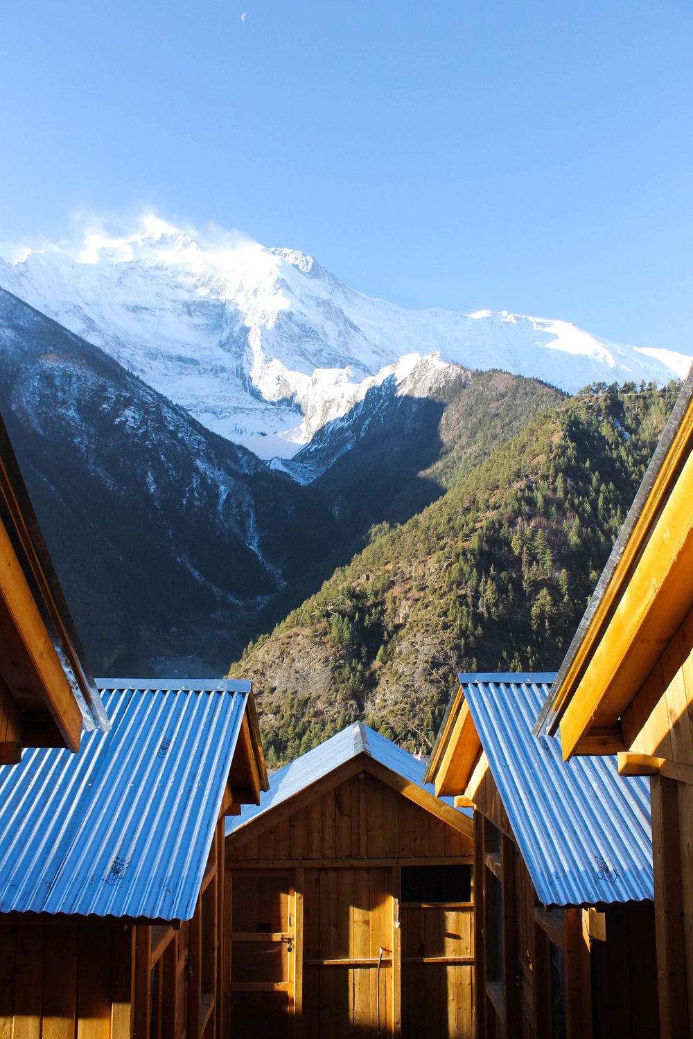 One of my favourite accomidations. Wooden cabins in Upper Pisang.