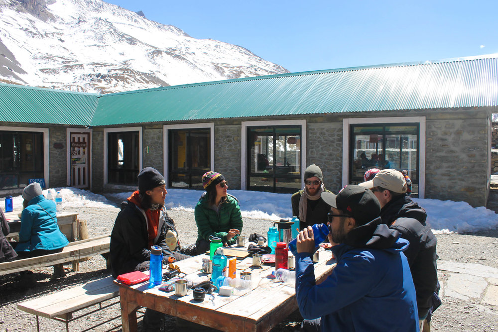 Soaking up the sun at Thorong Phedi base camp.