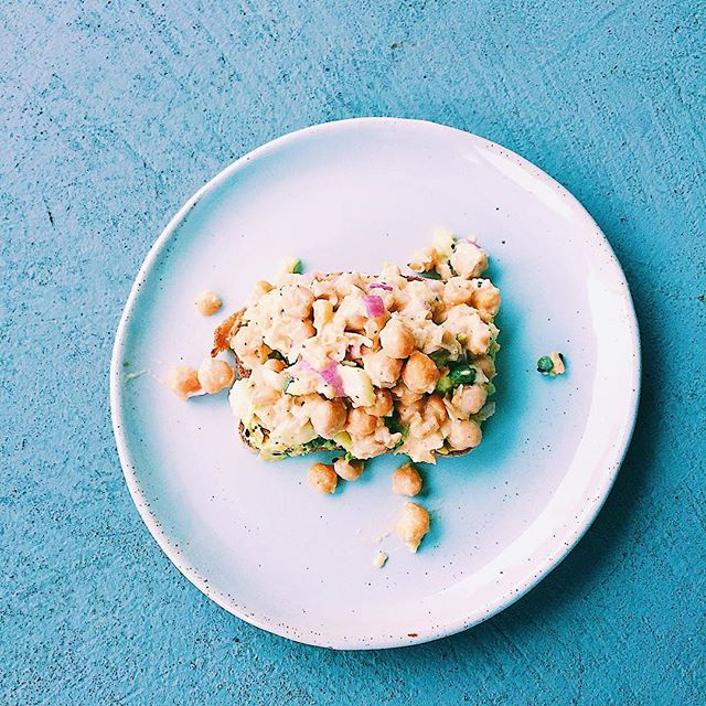 my avocado toast + chickpea deli salad mash-up that was 💯 this chickpea deli salad is on the menu for delivery next week- served with either lettuce cups or blue corn tortilla chips!