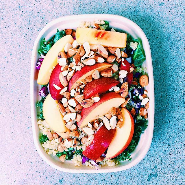 when we are in the thick of a summer with so much delicious produce, it is hard to imagine a time without it! making the most of it while i can! from last week's menu➡️ summer kale & stone fruit salad! kale, quinoa, crunchy red cabbage, peaches, nectarines, plums, toasted almonds, and shallot dressing! summer please don't end!!🙏🏼☀️ . . . . . . #healthyeats #healthyeating #mealdelivery #mealdeliverylosangeles #mealprep #manhattanbeach #lafood #lamealdelivery #southbay  #dailyfoodfeed #instaeats #huffposttaste #feedfeed #buzzfeedfood  #yahoofood #vscofood #food4thought #healthyliving #igfood #foodiegram  #foodpics #goodmoodfood #eatwelllivewell #eatrealfood #balance #healthy #homemade
