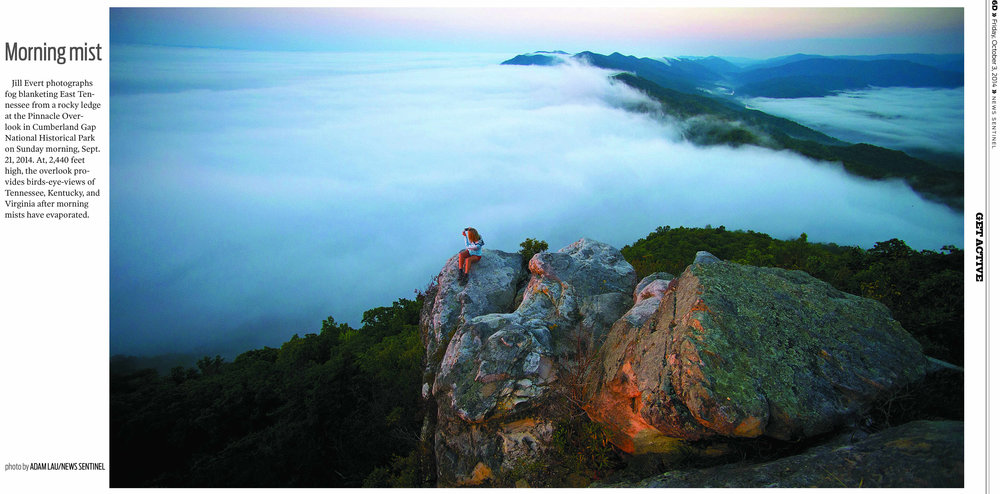"Knoxville News Sentinel ""Hike of the Month"" photo by Adam Lau, design by Don Wood."