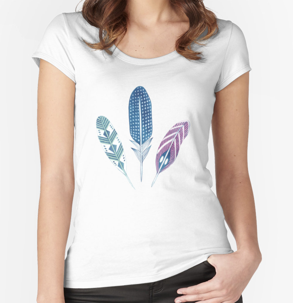 Bohemian feather tee available at Red Bubble