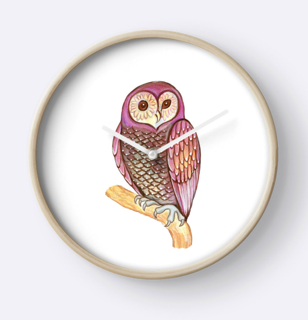 Magical Wise Owl Clock available at Red  B ubble
