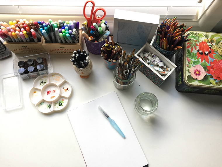 Art supplies on my desk
