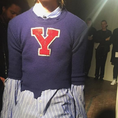 A cropped varsity sweater was brought in Spring 2016 and has made its way back! Photo via Ray Tetauira.