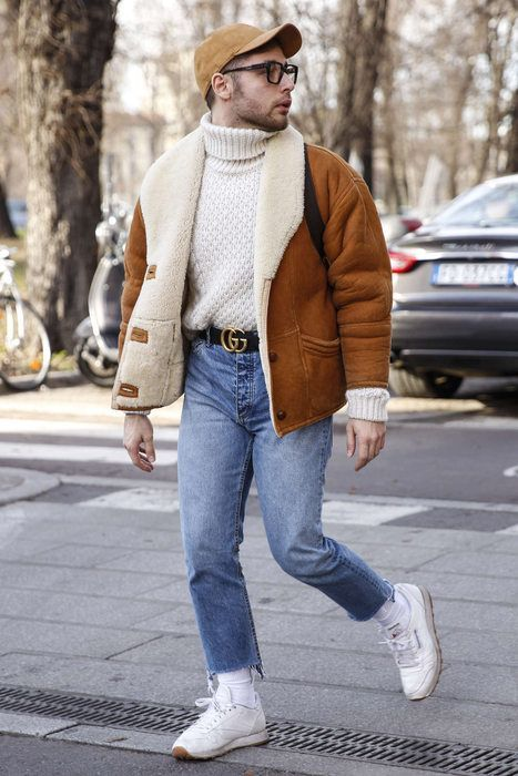shearling and turtleneck