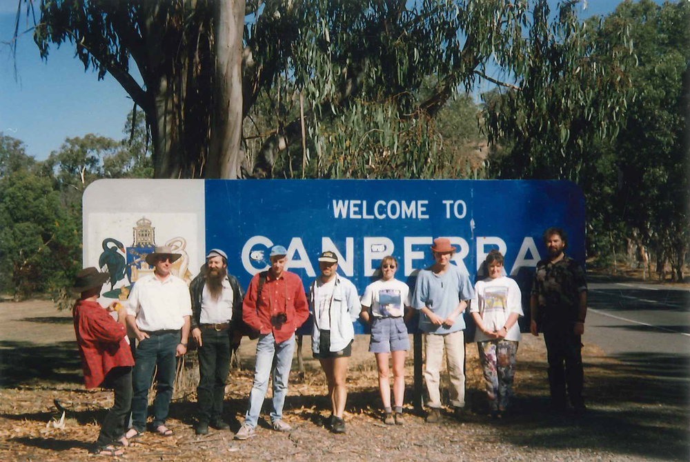 The Pioneer Pog 'n' Scroggin Bush Band (1996) (From left to right) Tony Wilson, Greg Waite, John Steel, John Dodd, Mark Laws, Laura Gartner, Tarek Bazley, Lindsey Shields, Mike Moroney.
