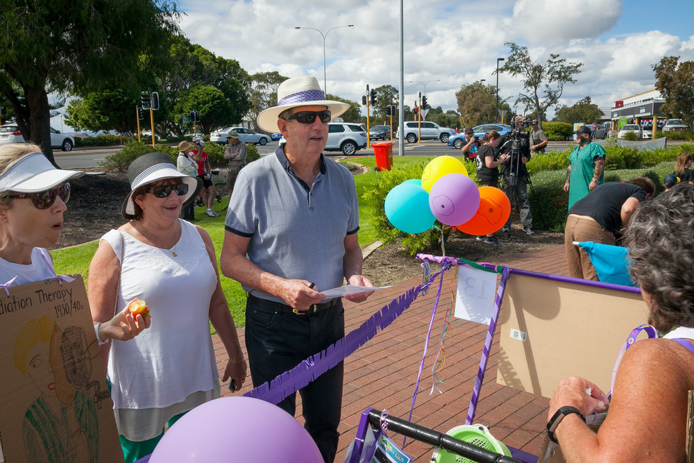 Mayor of Bunbury, Mr Gary Brennan, accompanied by his wife Robin, inspect the beds and team costumes before the Race