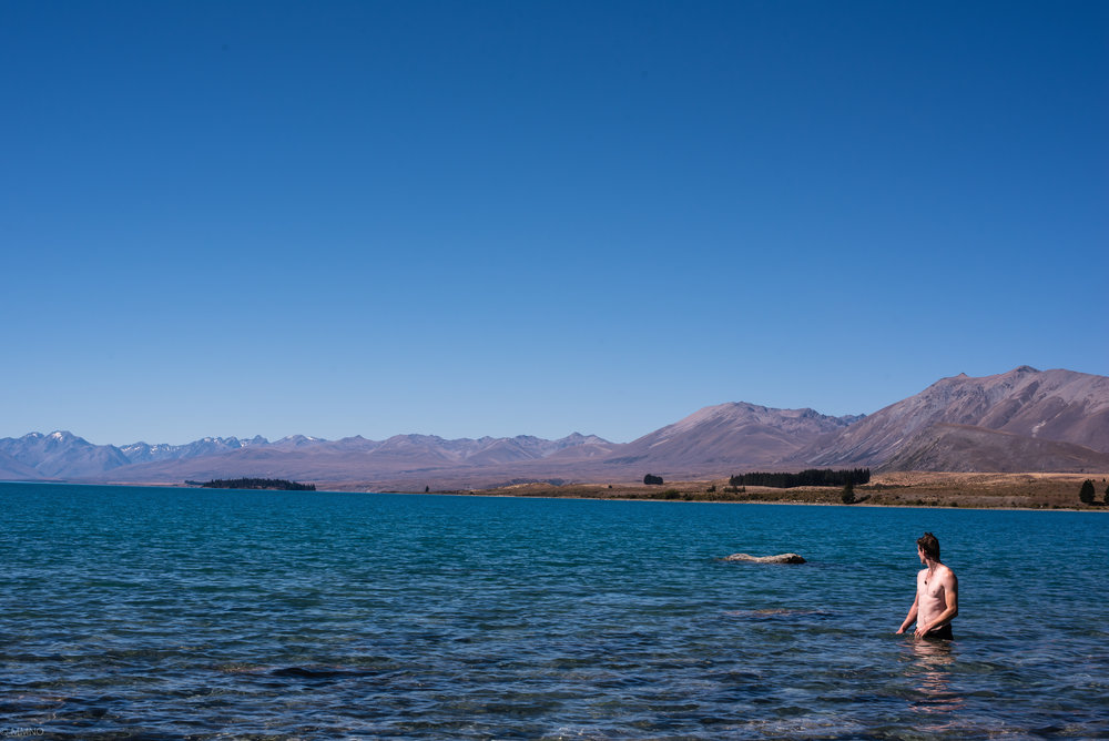 Short dip in Lake Tekapo on the way to Qtown