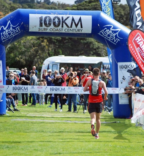 Author of this article, Aidan Rich, running the marathon leg (PB 3.08) during the Ironman Western Australia Triathalon.