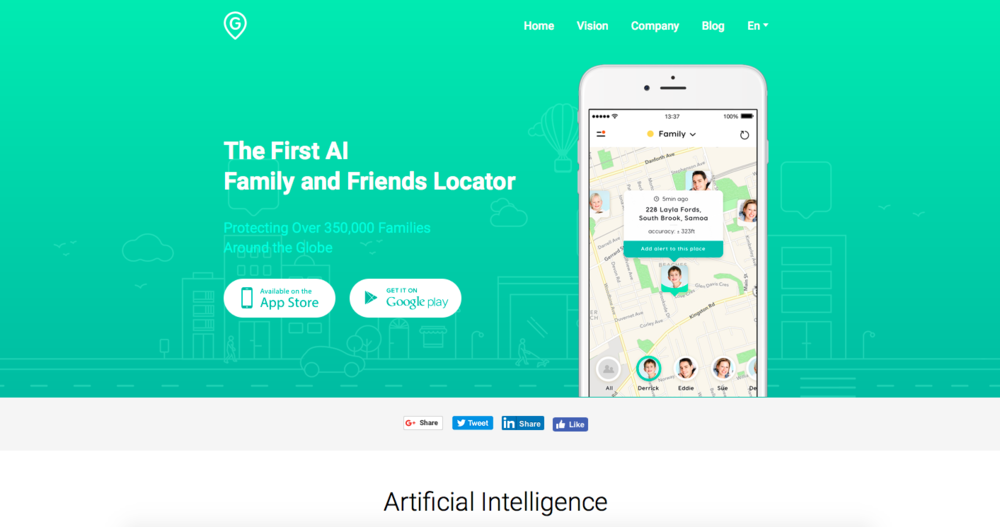 geozilla.com  GeoZilla, an AI-powered GPS locator for families