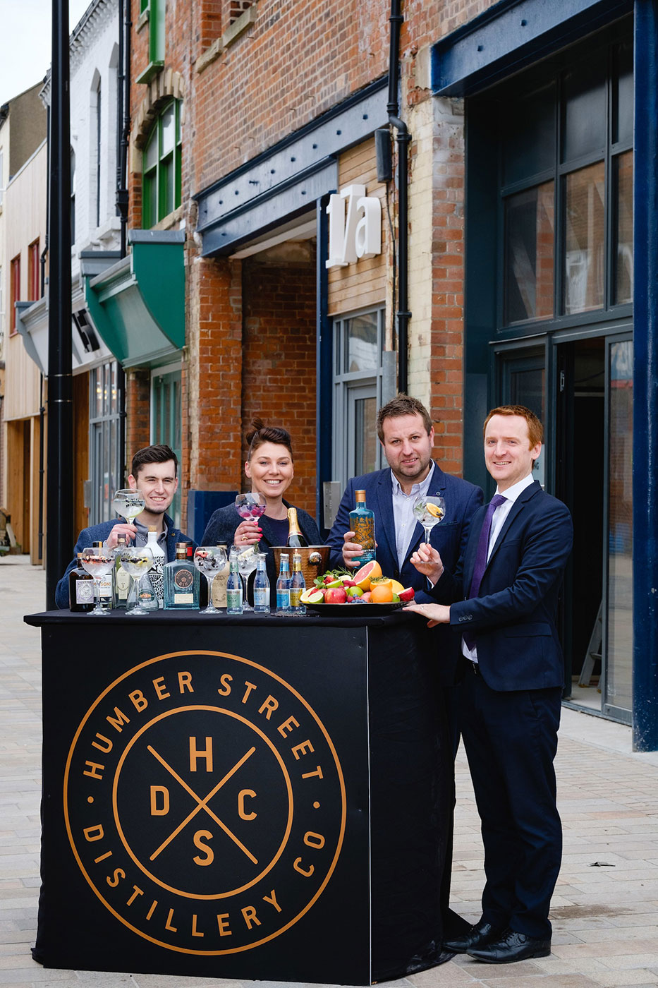 Humber Street Distillery Co is the latest investment to be announced in Hull's rapidly-evolving Fruit Market waterside district. Pictured are owners Lee Kirman and Charlotte Bailey, centre, with Manager Craig Heads, left, and Wykeland Group's Tom Watson.