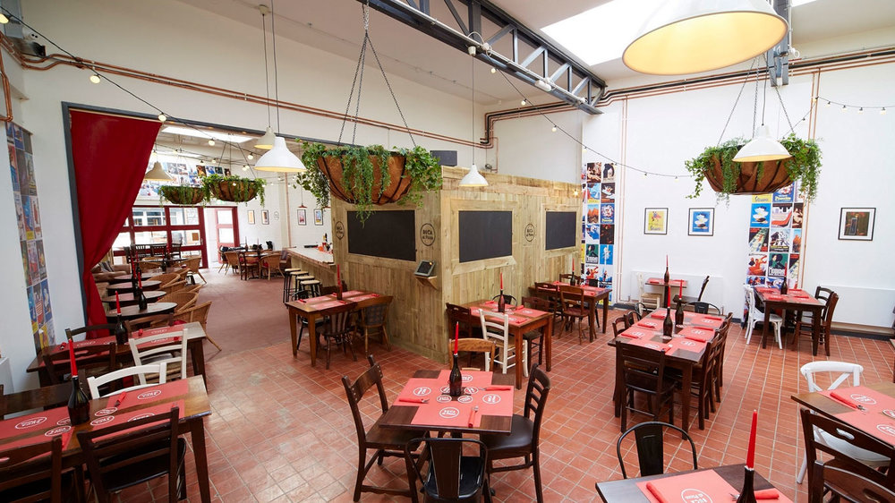 The formal dining area at Buca di Pizza, which has opened in Humber Street in the heart of the Fruit Market.