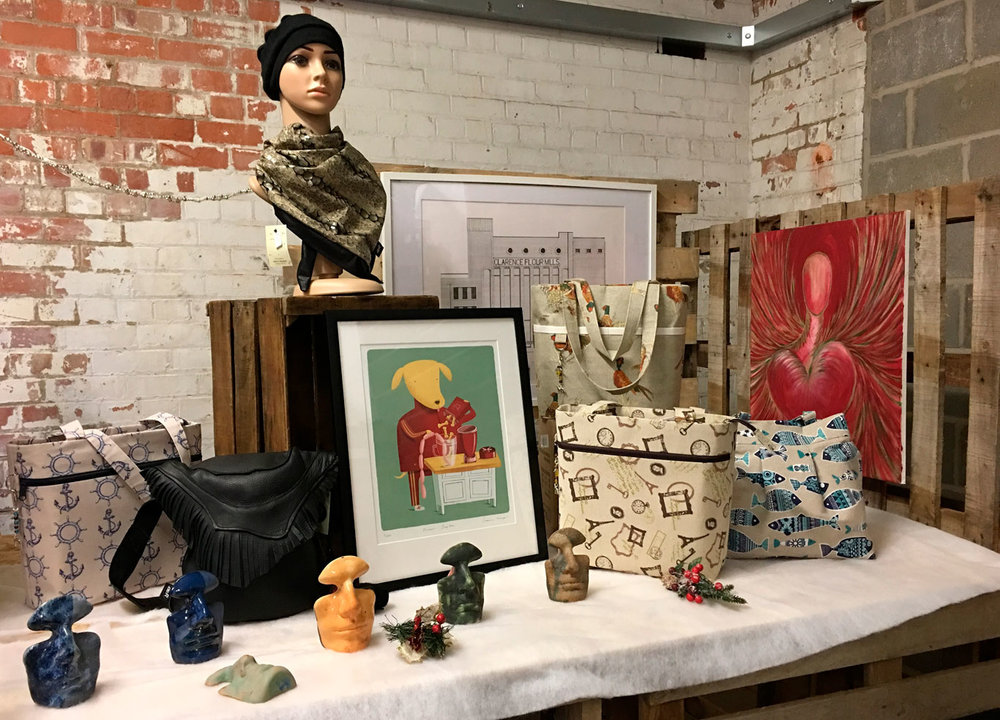 Some of the artwork and gifts available at the Christmas at Humber Street indoor and outdoor fair.