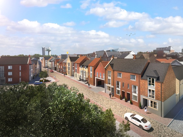 A new computer-generated image of the Fruit Market development showing a blend of property types and styles to create a highly attractive and sustainable new neighbourhood. The image shows Blanket Row with Martin's Quarter in the foreground.