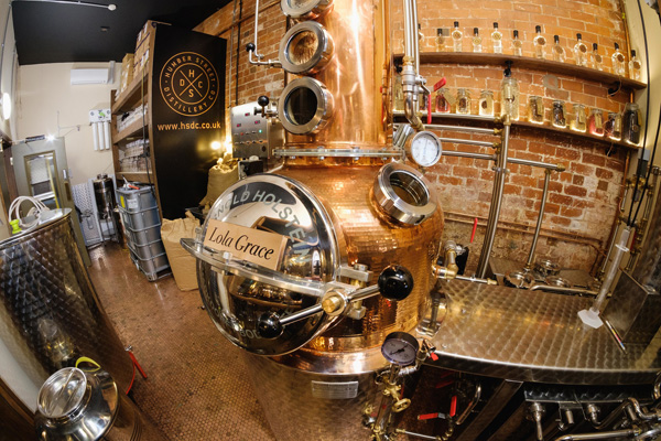 The beautiful, 150-litre copper still is on view behind a glass wall in the speakeasy-style bar in Hull's Fruit Market quarter.
