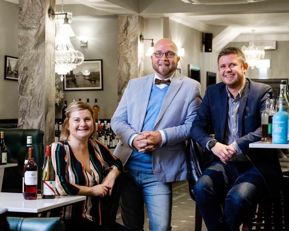 James MacLeod-Birch (centre), Director of Steak\1884, in the new restaurant with Head Chef Laura Waller and Deputy General Manager Gary Laughton.
