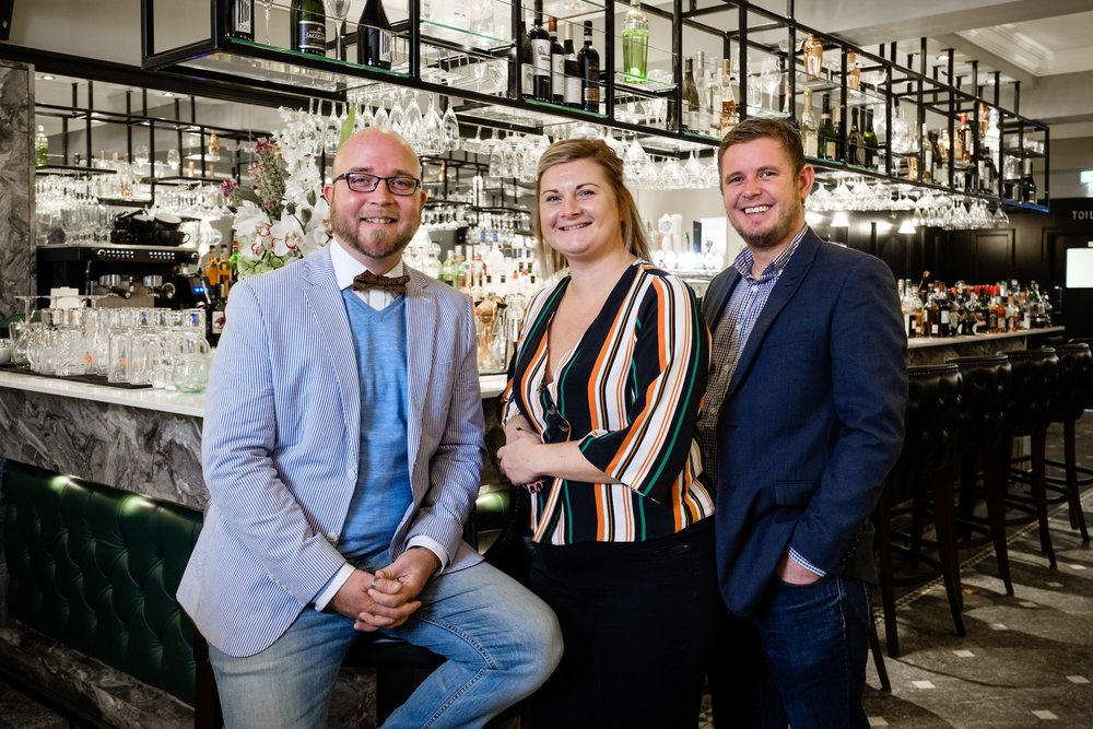 James MacLeod-Birch (left), Director of Steak\1884, with Head Chef Laura Waller and Deputy General Manager Gary Laughton.