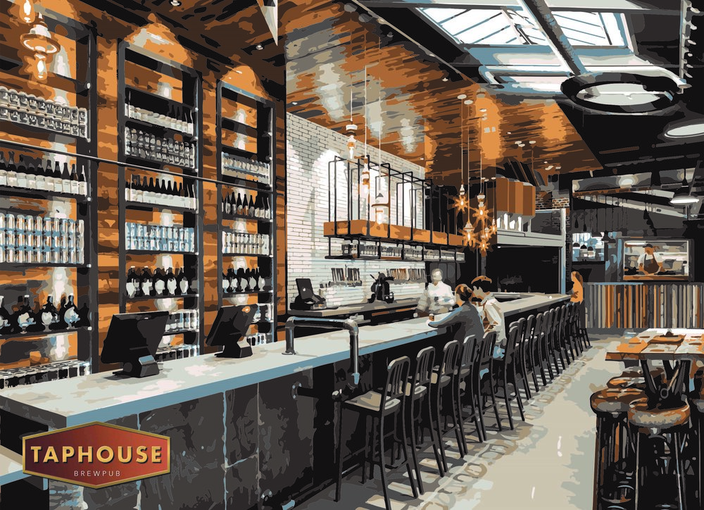 A computer-generated image of the bar area of the Taphouse Brewpub, soon to open on Humber Street.