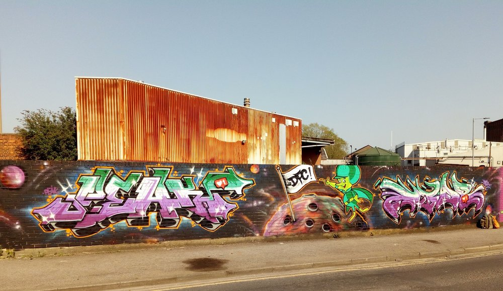 Graffiti artwork by Peak and EP1KR of the DFC crew at Bankside Gallery, Hull