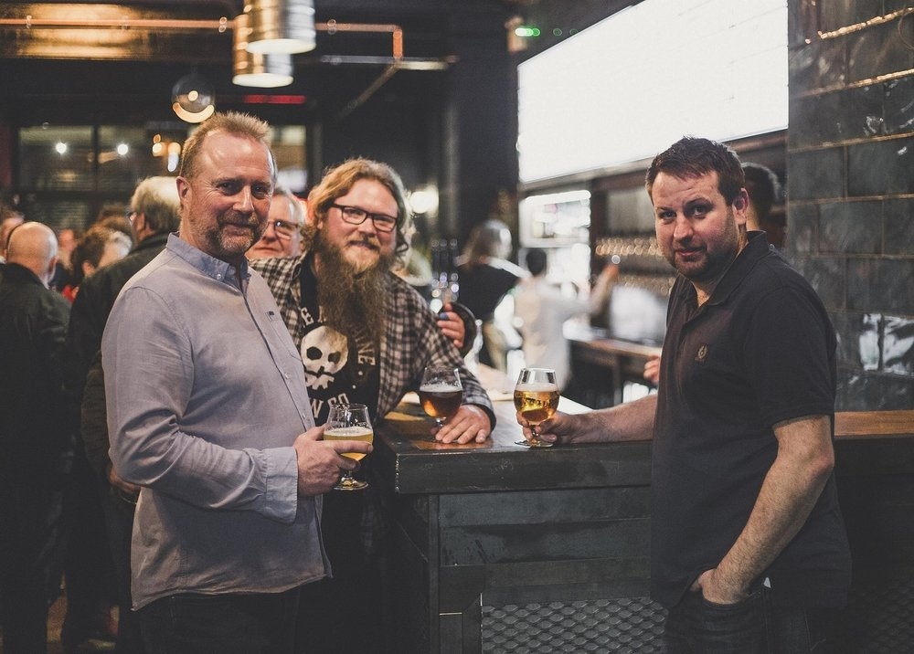 Taphouse Brewpub owners Guy Falkingham, left, and Lee Kirman, right, with Marko Karjalainen of Bone Machine Brew Co, which is now based at the new venue.