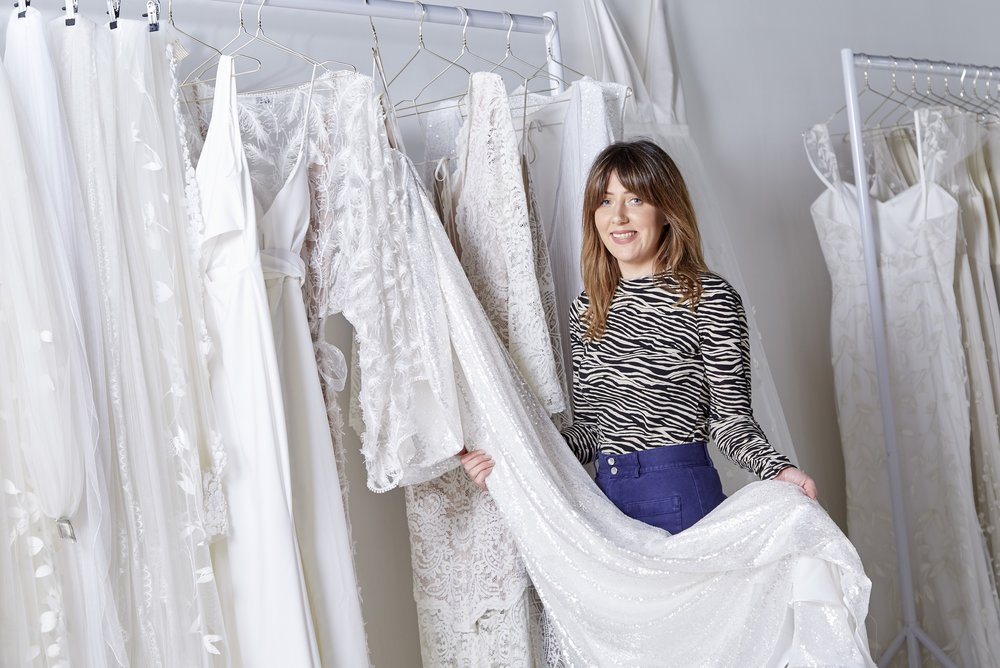 Owner Katey Headley at her bridal boutique, Ghost Orchid Bride, which has just opened in Hull's Fruit Market district.
