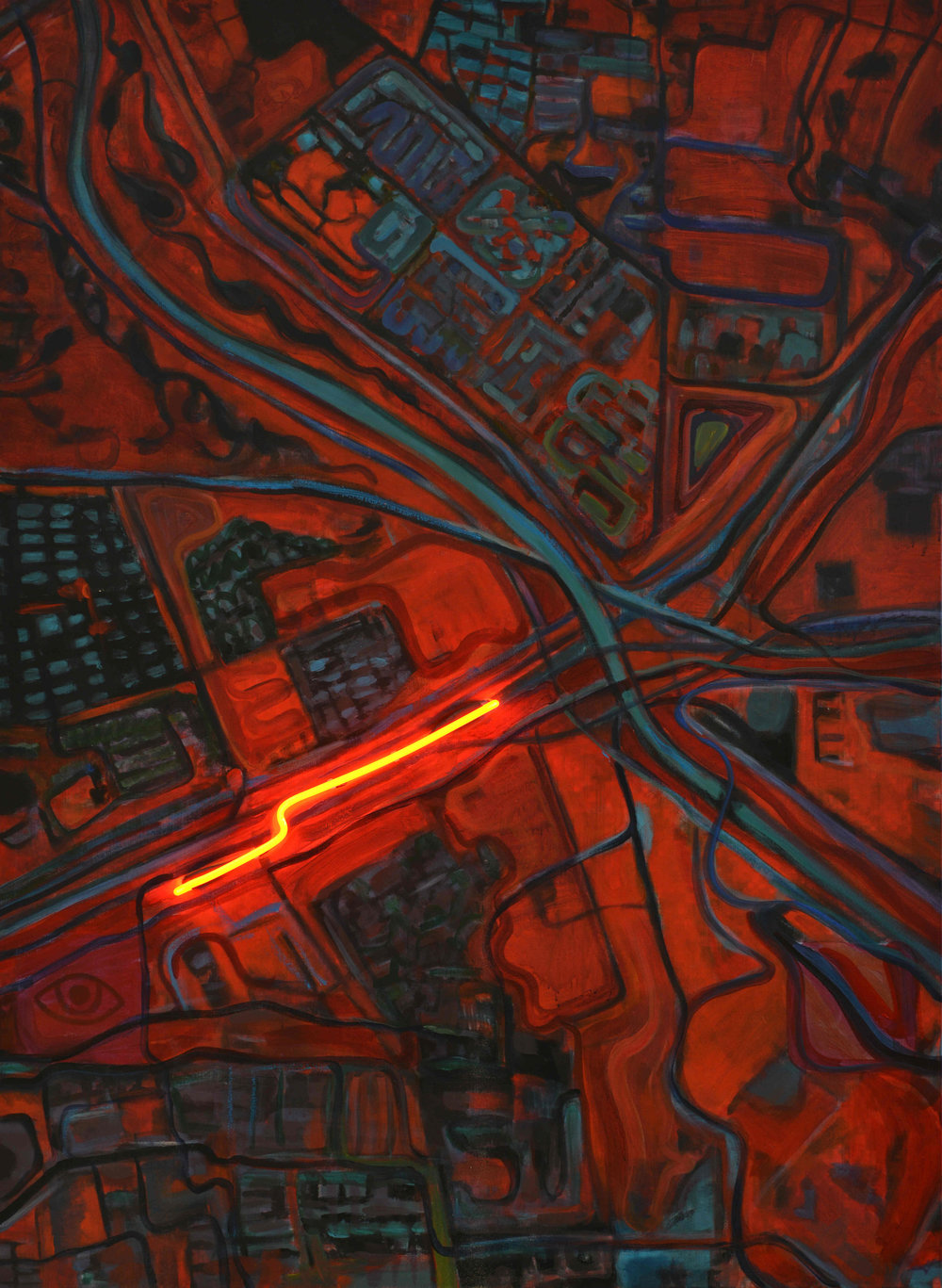 行走 No2  霓虹灯、丙烯和综合材料于帆布Walking  No 2 Neon, Acrylic and Mixed Medium on Canvas_副本.jpg